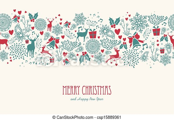 Vintage Christmas elements, reindeer with text seamless pattern background. EPS10 vector file organized in layers for easy editing. - csp15889361