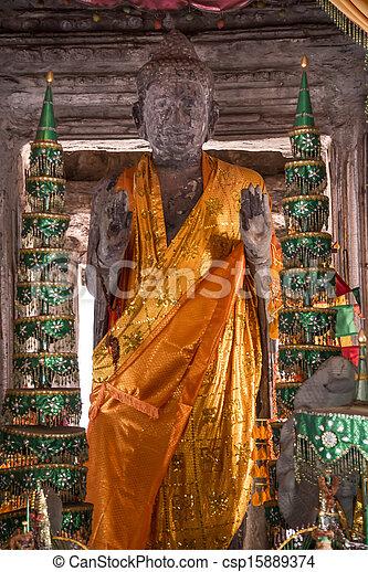 Buddha Statue Angkor Wat. Tradition, Religion, Culture. Cambodia, Asia. - csp15889374