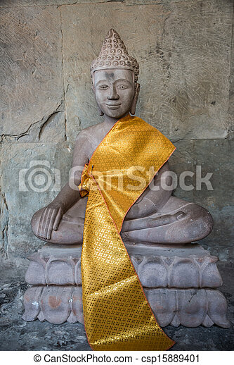 Buddha Statue Angkor Wat. Tradition, Religion, Culture. Cambodia, Asia. - csp15889401