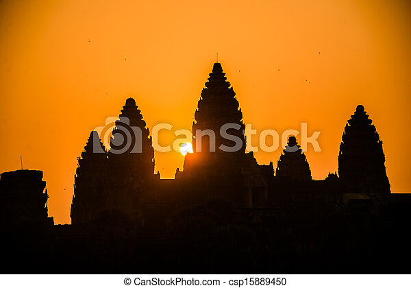 Angkor Wat silhouette Senrise. Religion, Tradition, Culture. Cambodia, Asia. - csp15889450