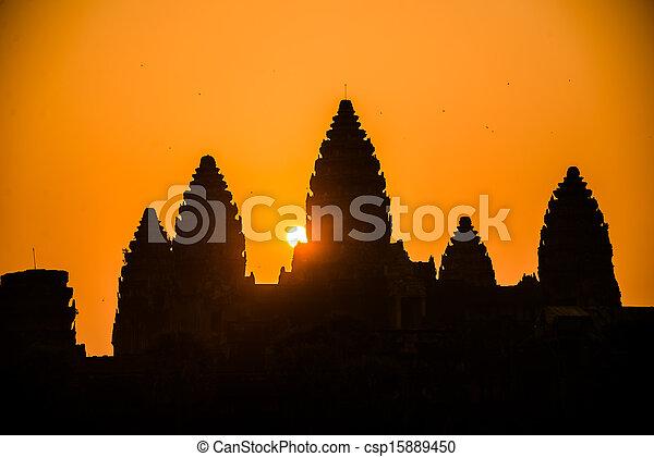 Angkor Wat silhouette Senrise. Religion, Tradition, Culture. Cambodia, Asia. - csp15889450