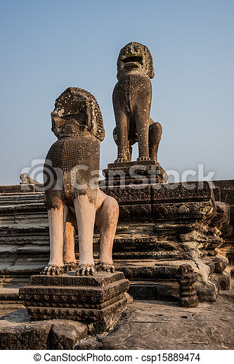 Angkor Wat Entrance Guardian Lions Sculpture. Tradition, Culture, Religion.  Cambodia, ASia. - csp15889474