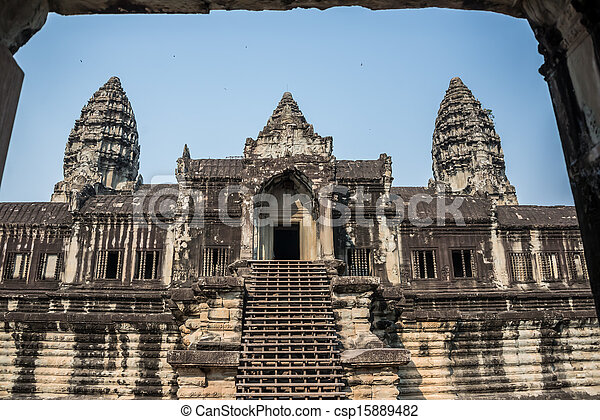 Angkor Wat Window. Religion, Tradition, Culture. Cambodia, Asia. - csp15889482