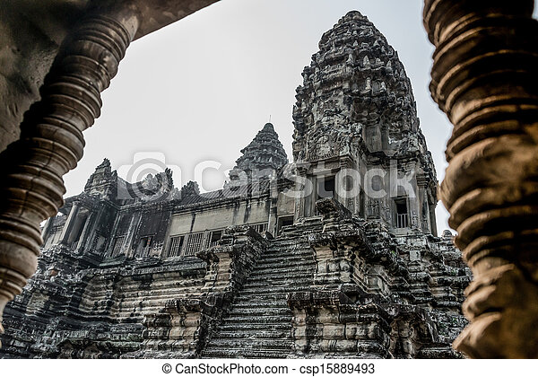 Angkor Wat Window. Religion, Tradition, Culture. Cambodia, Asia. - csp15889493