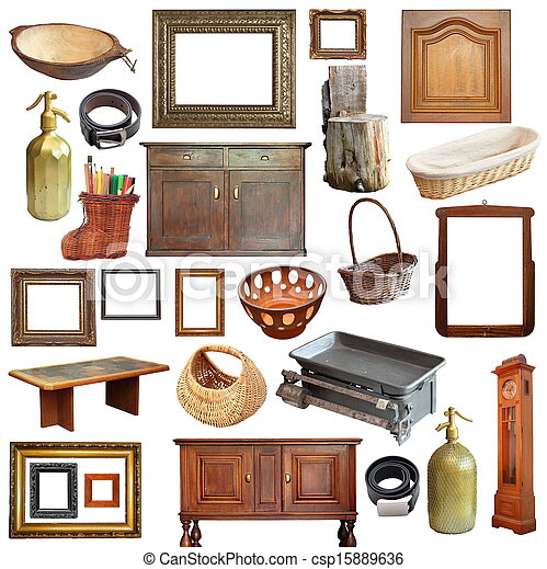 collage with old vintage objects - csp15889636
