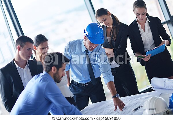 business people and engineers on meeting - csp15891850