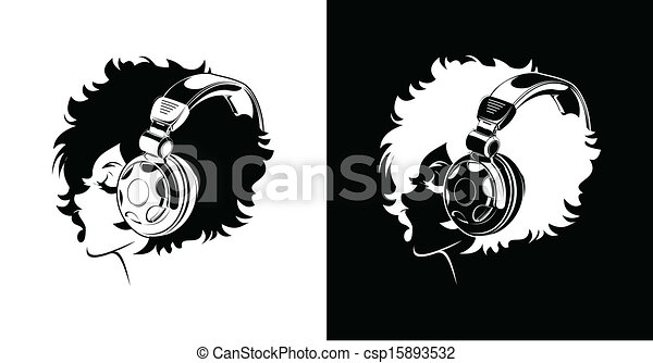 Vectors of One Color Girl Listening To Music csp15893532 ...