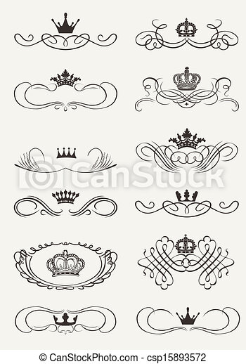 Victorian Scrolls and crown. Decorative Dividers. Vintage - csp15893572