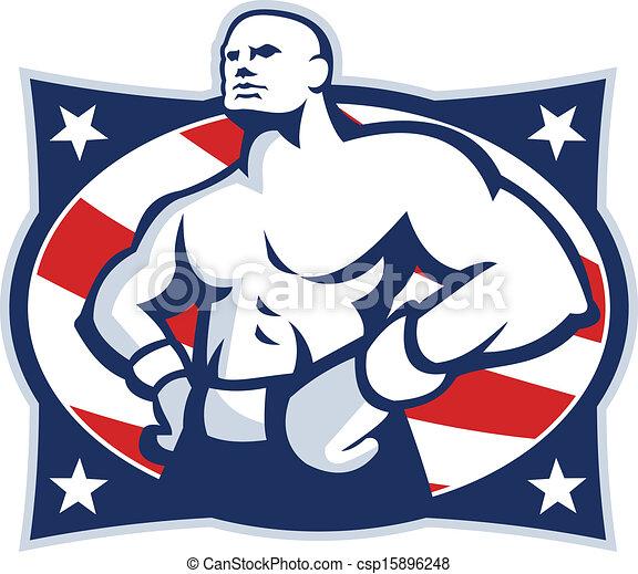Champion American Boxer Akimbo Retro - csp15896248