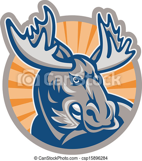 Angry Moose Mascot Retro - csp15896284