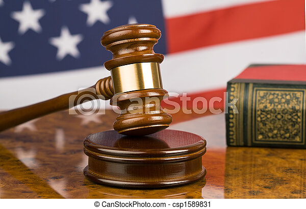 Gavel and american flag - csp1589831