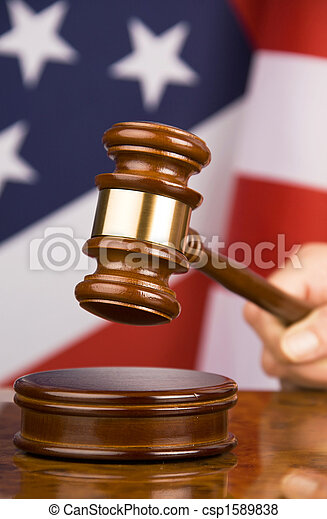 Gavel and american flag - csp1589838