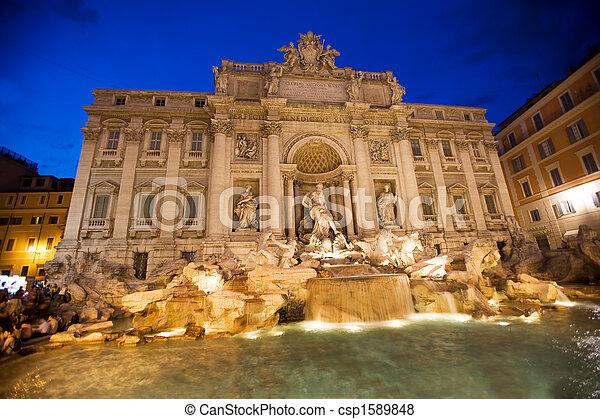 trevi fountain, rome, italy - csp1589848