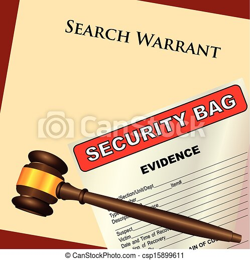Vector Clip Art of Search Warrant and evidence - A search ...