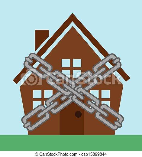 Vettore eps di casa catene casa incluso in metallo for Piccoli piani di casa in metallo