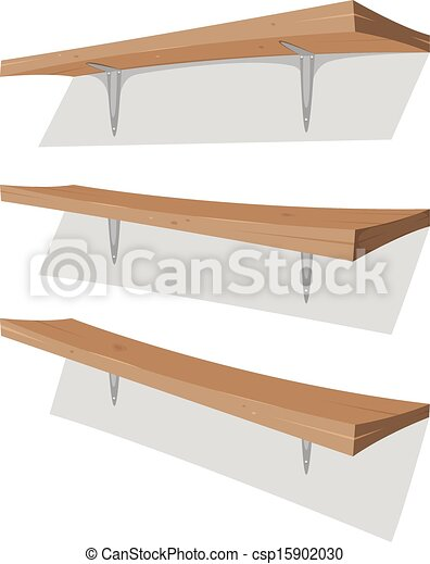 Vectors of Wood Shelf On The Wall - Illustration of ...