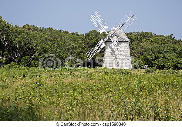 An historic Cape Cod wind mill at Brewster, Massachusetts - csp1590340