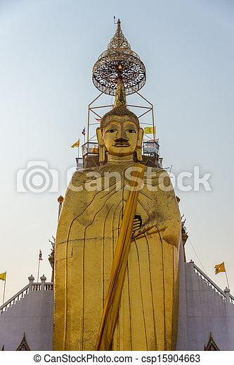 Huge Golden Big Buddha, Culture, Religion, Trtadition, Bangkok City. South East Asia. Thailand. - csp15904663