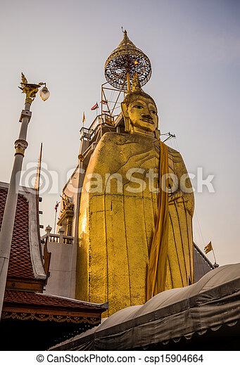 Huge Golden Big Buddha, Culture, Religion, Trtadition, Bangkok City. South East Asia. Thailand. - csp15904664