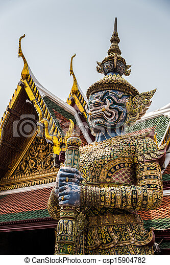 Sculpture at Royal Palce, Bangkok City, Religion, Culture and Tradition, South East Asia, Thailand. - csp15904782