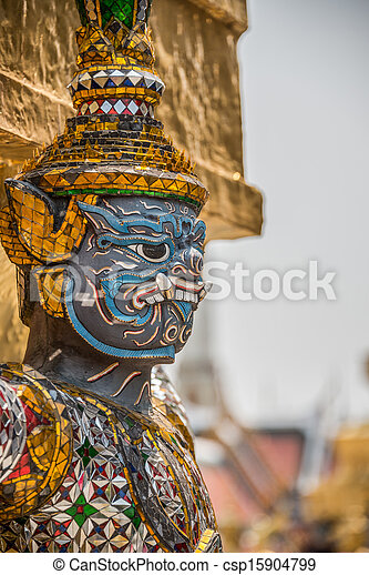 Sculpture at Royal Palace, Bangkok City, Religion, Culture and Tradition, South East Asia, Thailand. - csp15904799