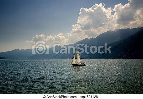 Sailing boat on a lake - csp15911281