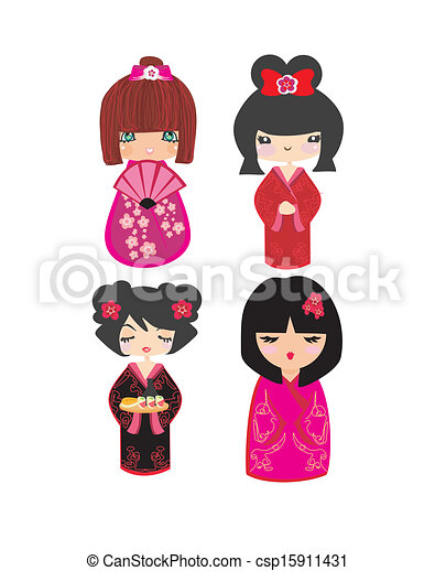 Kokeshi dolls in various designs isolated on white. - csp15911431