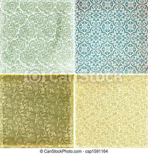 Collection of vintage wallpaper pattern textures - csp1591164