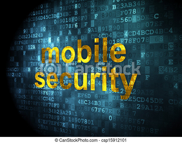 Protection concept: Mobile Security on digital background - csp15912101