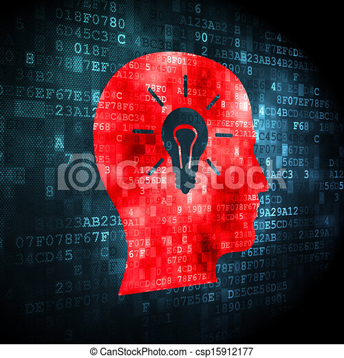 Education concept: Head With Light Bulb on digital background - csp15912177