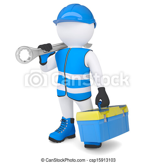 Stock illustration of 3d man in overalls with a wrench and 3d tool free