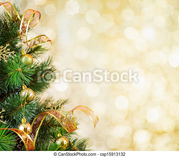 Golden Christmas tree background - csp15913132