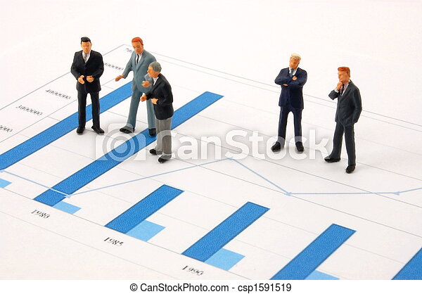 business man over economic chart - csp1591519