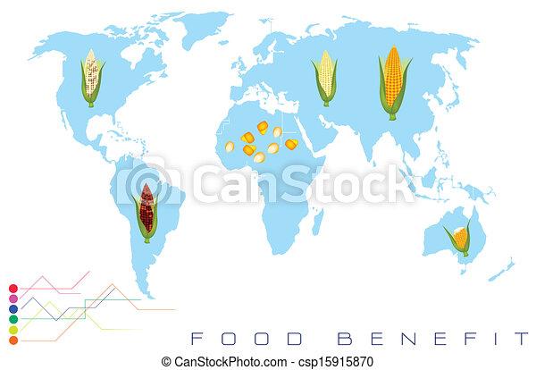 矢量-世界, 地图, 玉米