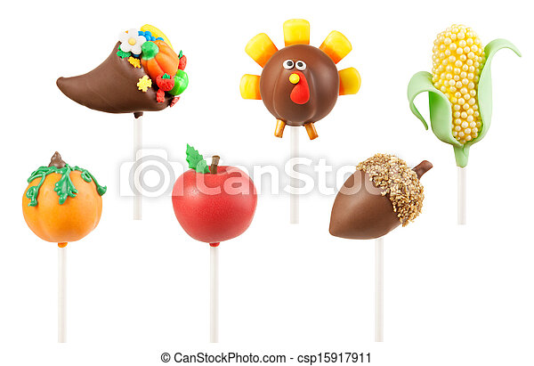 Thanksgiving Cake Clip Art : Stock Photography of Thanksgiving cake pops: cornucopia ...