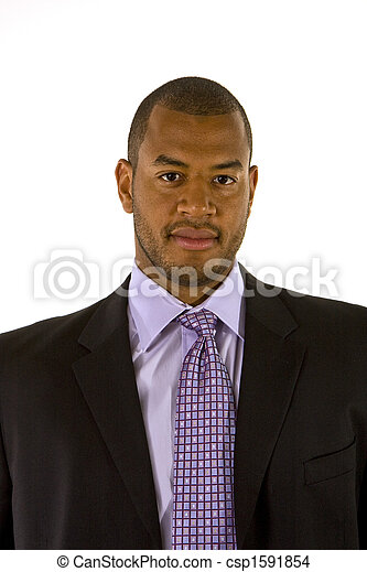 Black man in Nice Suit and Purple Shirt  - csp1591854