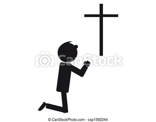 homem, orando - csp1592244