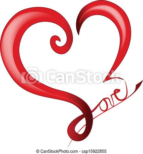 Valentines Day Shiny Heart logo - csp15922855