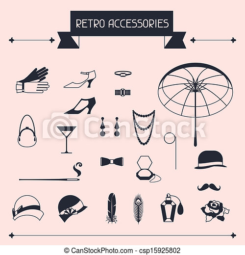 Retro personal accessories, icons and objects of 1920s style. - csp15925802