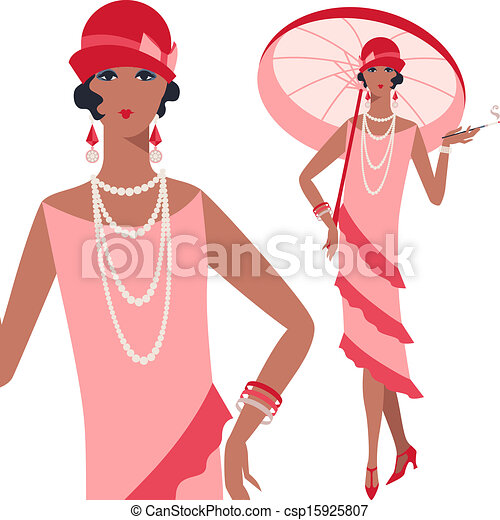 Retro young beautiful girl of 1920s style. - csp15925807