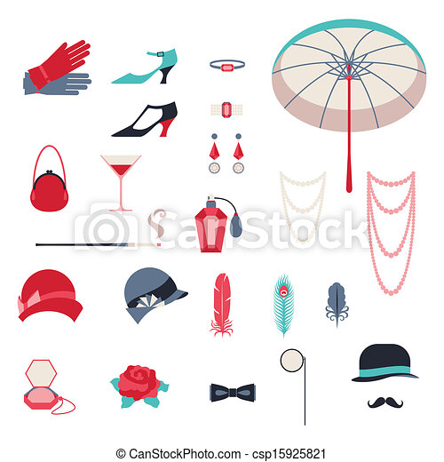 Retro personal accessories, icons and objects of 1920s style. - csp15925821