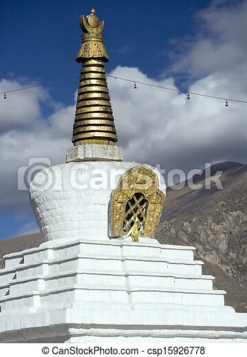 Buddhist stupa - Lhasa - Tibet - csp15926778
