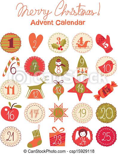 Vector Clip Art of Advent Calendar - Advent calendar with various ...