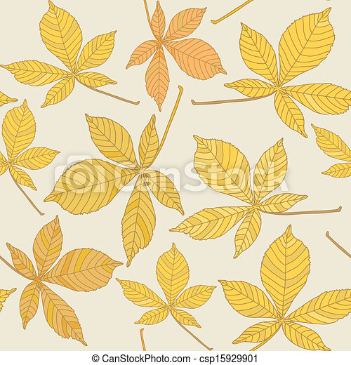 Seamless pattern with chestnut leaves - csp15929901