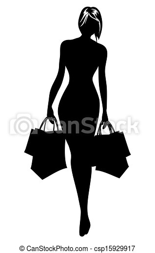 Woman silhouette in shopping - csp15929917