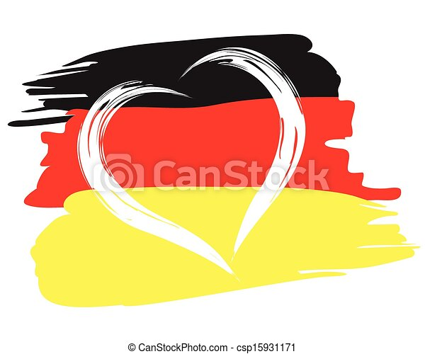painted german flag with heart shape symbol - csp15931171