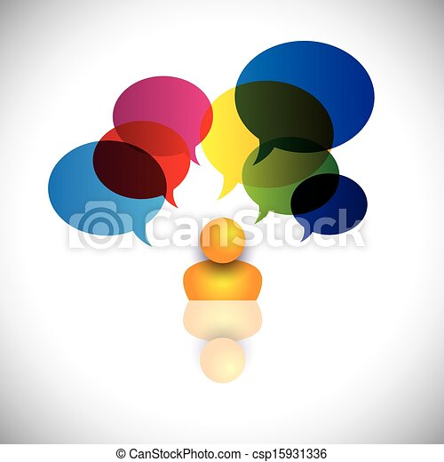 concept vector of a man with puzzles, questions, doubts or ideas. The graphic also represents a person icon with talk signs indicating imagination, ideas, opinions, dreams, thoughts, etc - csp15931336