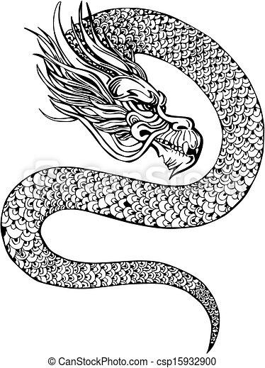 Clipart vecteur de dragon chinois oriental legless dragon black et csp15932900 - Dessin de dragon chinois ...