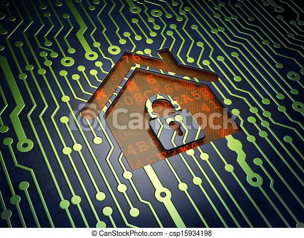 Protection concept: Home on circuit board background - csp15934198