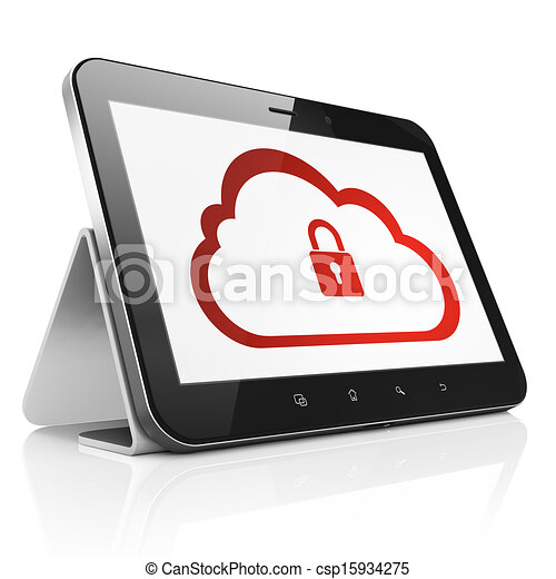 Cloud computing concept: black tablet pc computer with Cloud With Padlock icon on display. Modern portable touch pad on White background, 3d render - csp15934275
